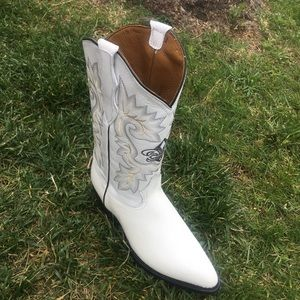 MEN'S WESTERN COWBOY WHITE BOOTS GENUINE LEATHER
